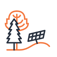 Natural resources icon with tree and solar panel