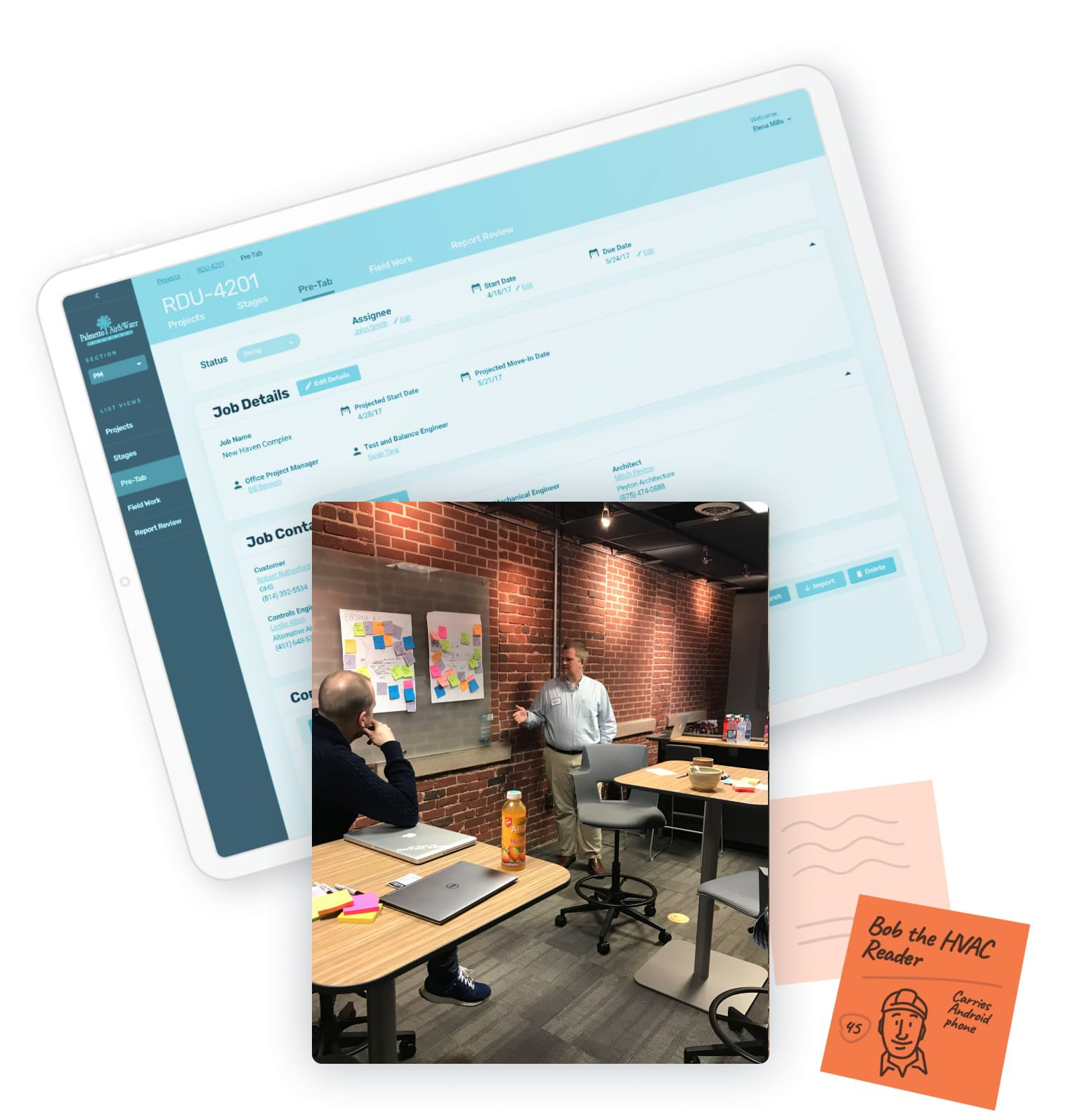 Software on iPad, employees collaborating, sticky notes