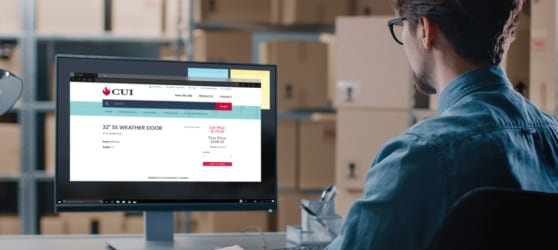 Image of man evaluating warehouse inventory with web app