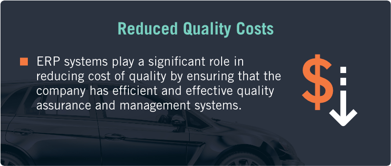 ERP systems play a significant role in reducing cost of quality