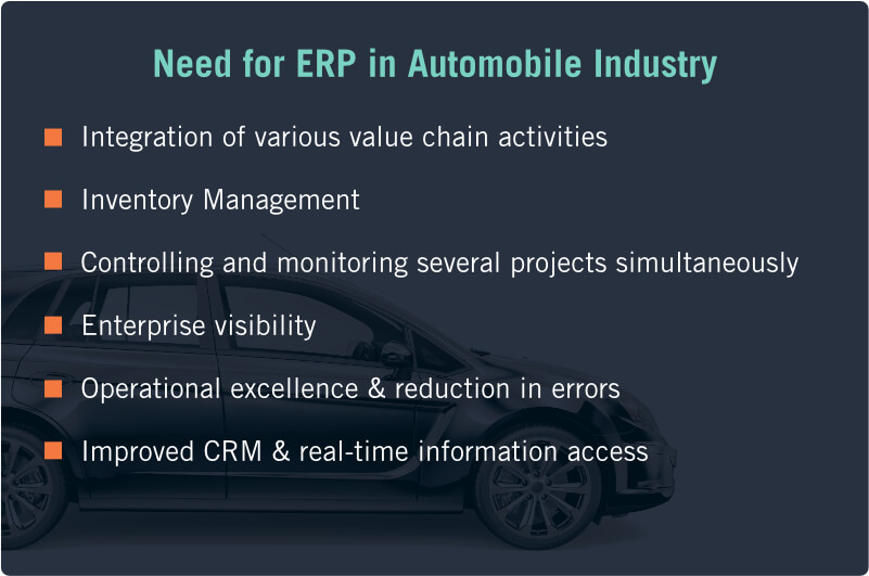 Need for ERP in Automobile Industry